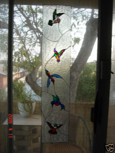 Faux Stained Glass Hummingbird Sidelight Window Cling Ebay