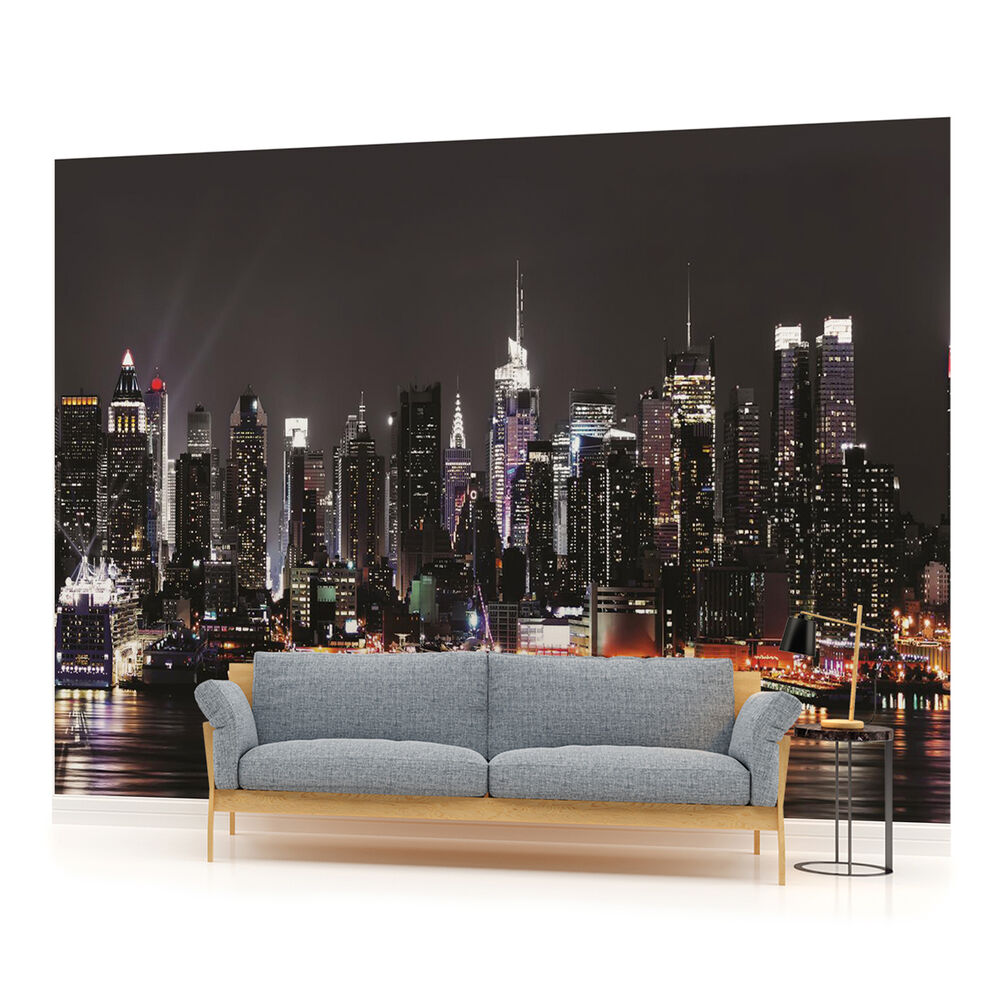new york city skyline urban photo wallpaper wall mural room 1309pp. Black Bedroom Furniture Sets. Home Design Ideas