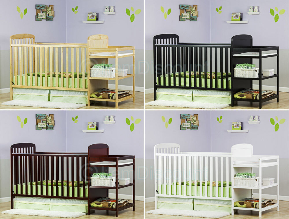 3 in 1 convertible baby crib toddler bed changing table set nursery dresser ebay. Black Bedroom Furniture Sets. Home Design Ideas