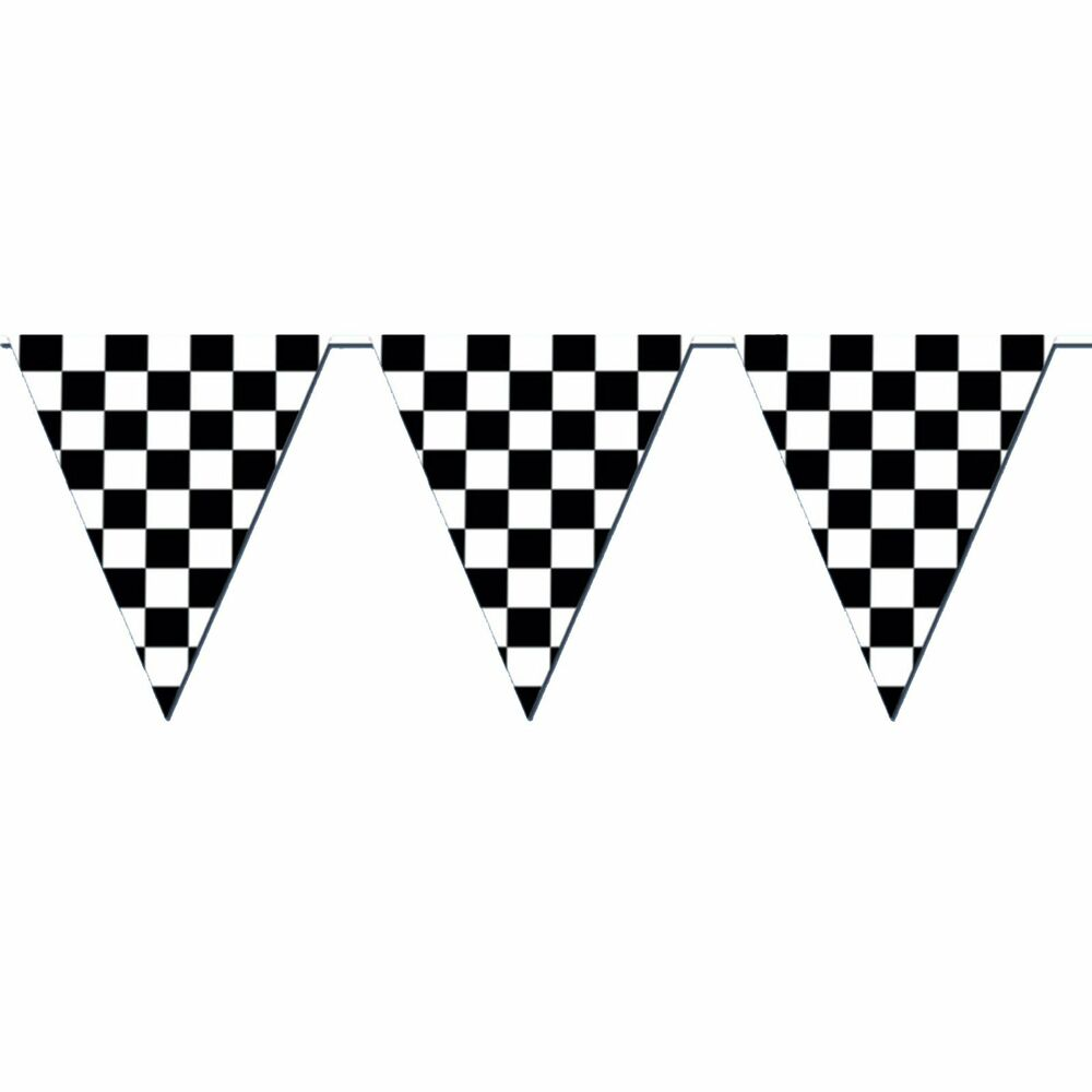giant racing checkered flag pennant banner party