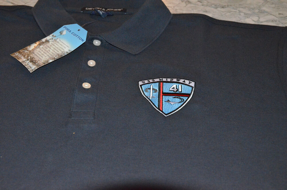 Uss midway embroidered polo shirt ebay for Custom embroidered polo shirts no minimum order