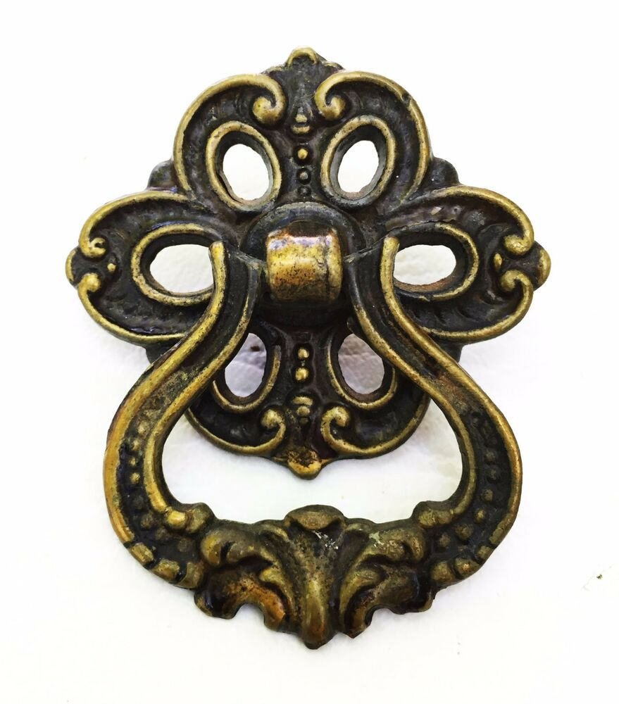 French Provincial Brass Antique Drawer Ring Pull Hardware
