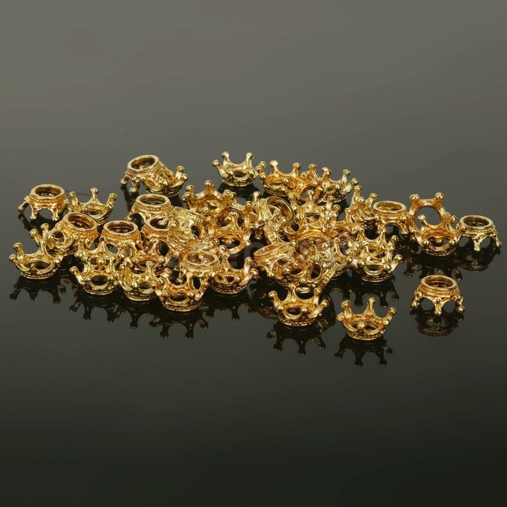 Gold Plated Silver Antique Beads: 50Pcs Antique Crown Gold Plated European Antique Beads