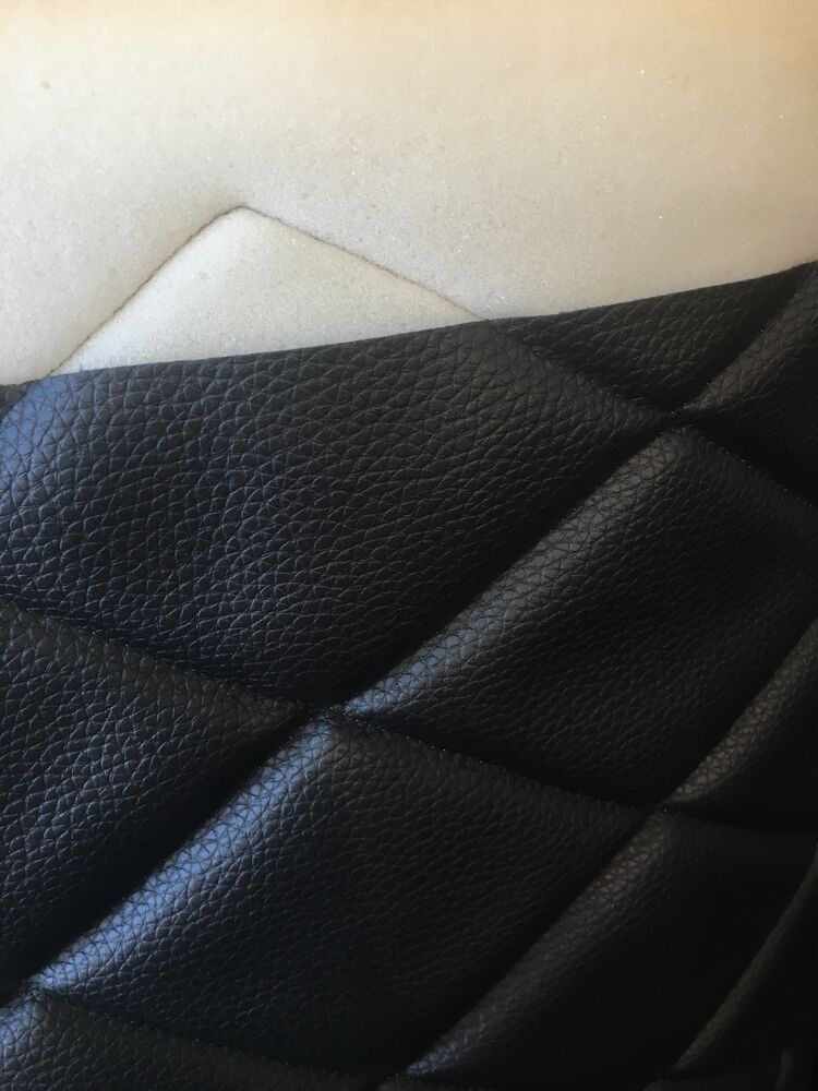 black quilted 6 by 4 vinyl fabric with 3 8 foam backing upholstery by the yard ebay. Black Bedroom Furniture Sets. Home Design Ideas