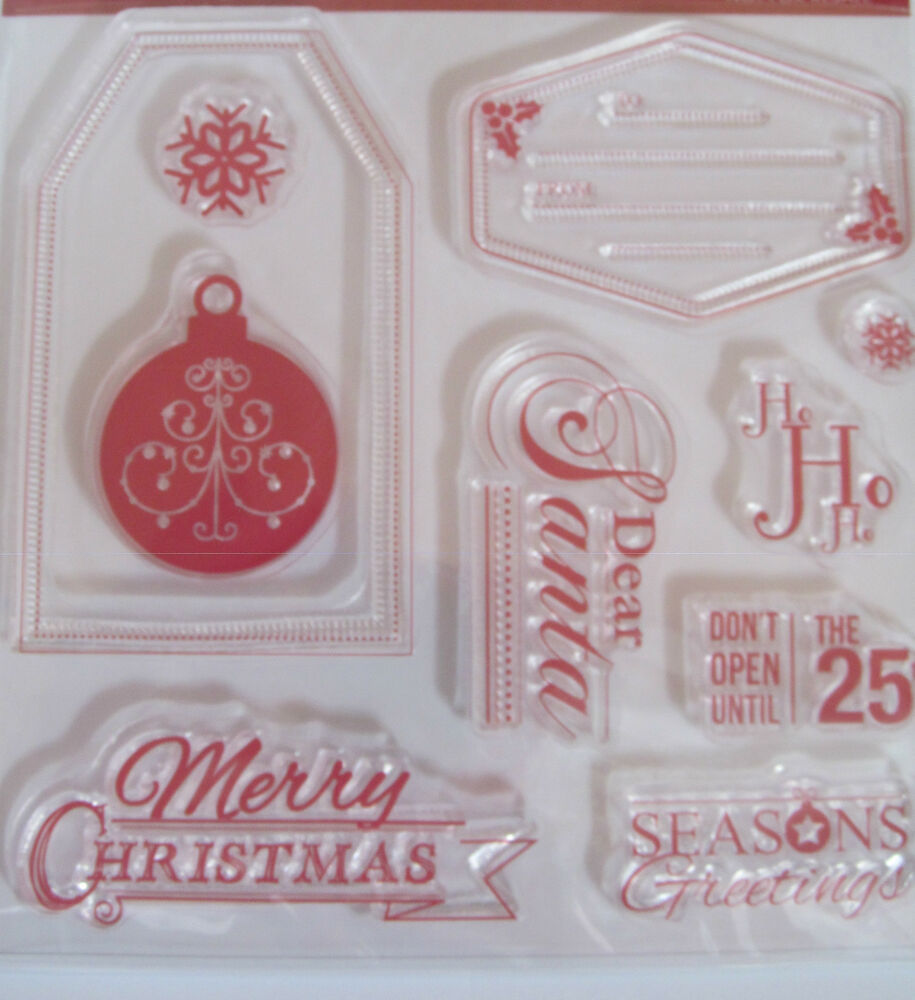 Create christmas clear rubber stamp set 10 stamps craft for Custom craft rubber stamps