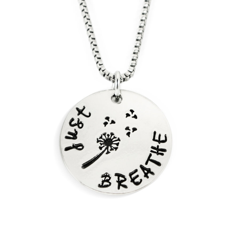 Just breathe stamped necklace ebay for Jewelry just for fun