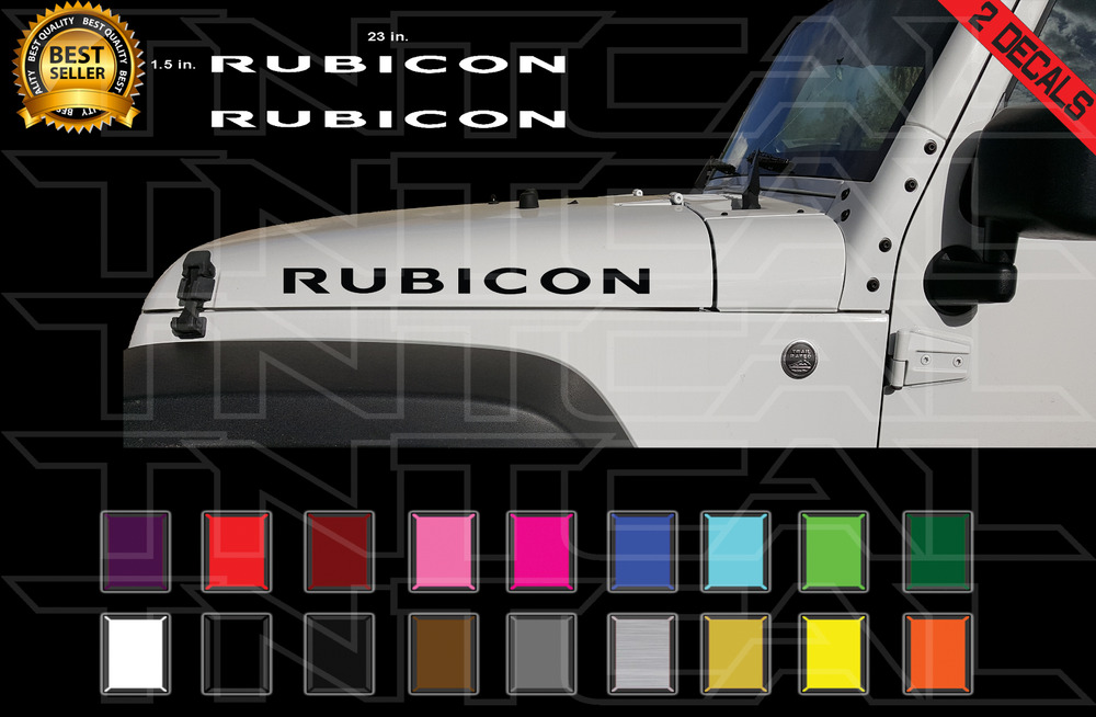 "Buy Jeep Wrangler >> 2- 23"" RUBICON Jeep Hood Decal Set Stickers Fender CJ YJ ..."