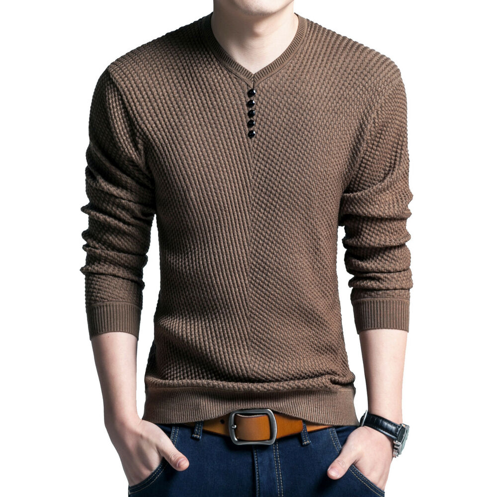 Mens long sleeve v neck knitted sweater casual slim fit for Sweater over shirt men
