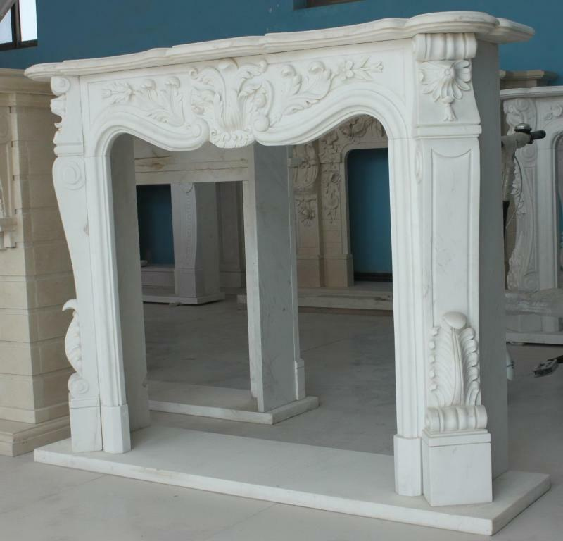 Hand Carved Marble Fireplace Mantel Premium White