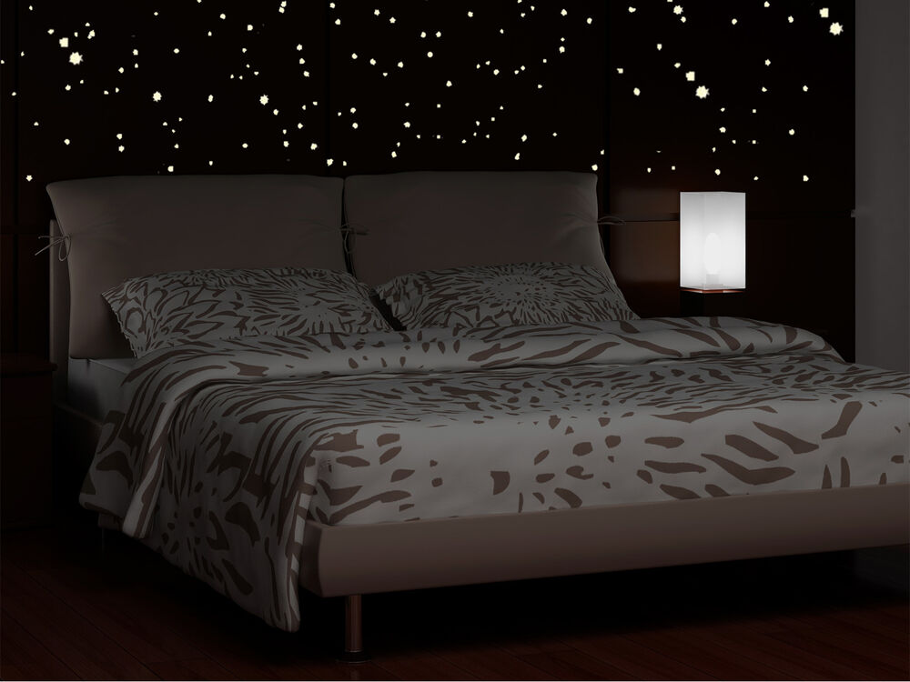 wandtattoo sterne punkte 213 fluoreszierende leuchtende sterne sternenhimmel ebay. Black Bedroom Furniture Sets. Home Design Ideas