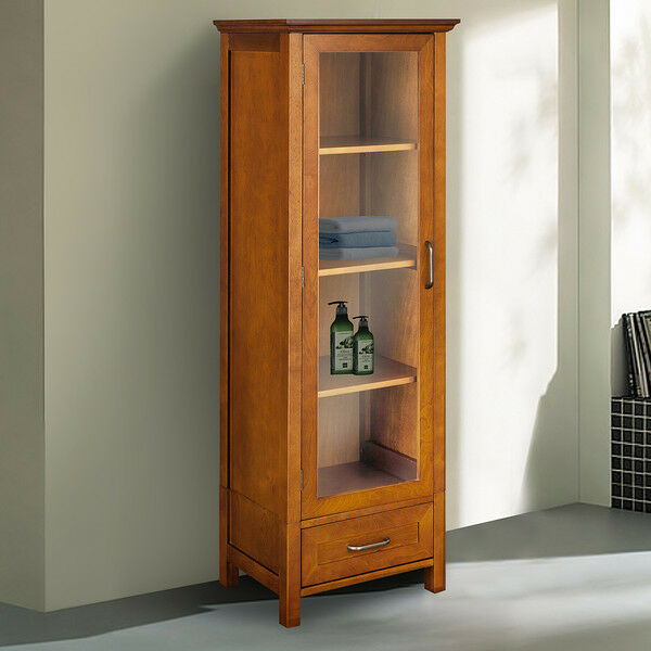 Oak pantry cabinet linen tall kitchen cupboard bathroom organizer shelves drawer ebay - Bathroom pantry cabinets ...
