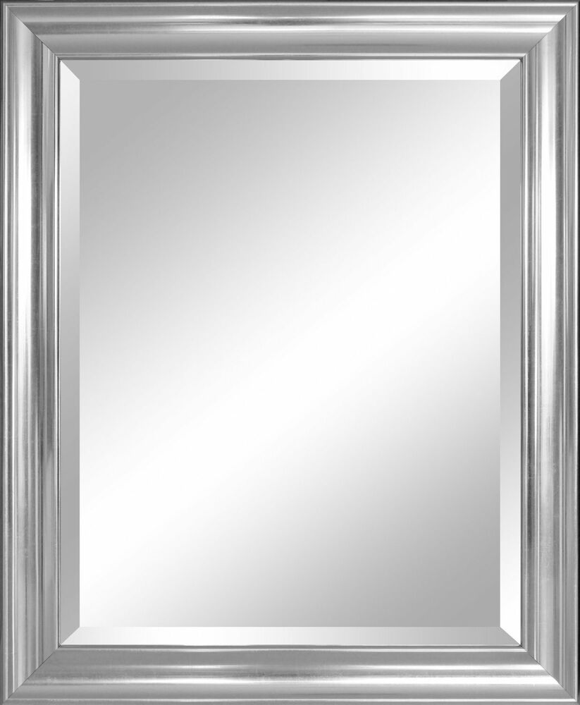 Bathroom mirror for wall beveled frame silver decor mount hanging vanity large ebay for Silver framed bathroom mirrors