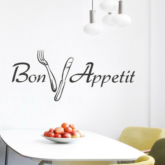 wandtattoo spruch bon appetit esszimmer guten appetit wandsticker wanddeko ebay. Black Bedroom Furniture Sets. Home Design Ideas