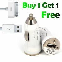 WHITE IN CAR CHARGER USB DATA CABLE FOR IPHONE 4 4S 3G 3GS IPOD TOUCH 4TH