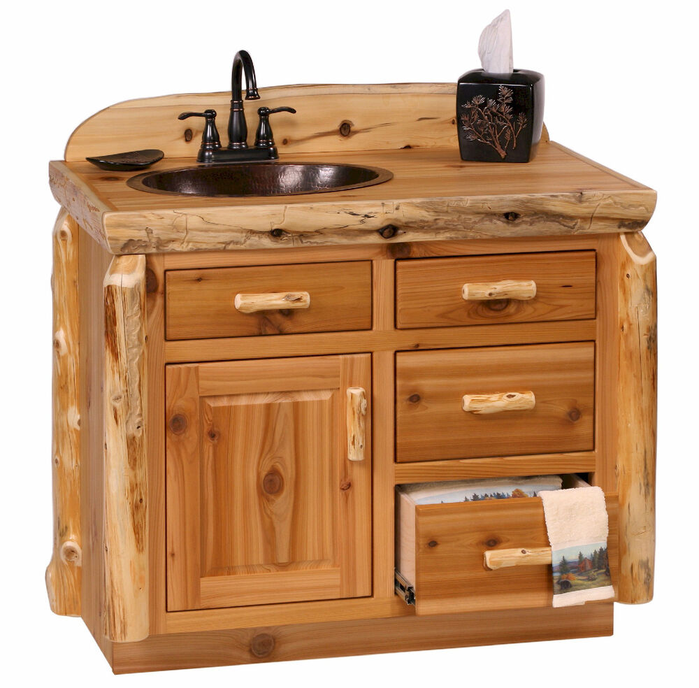 Rustic Bathroom With White Shiplap: Custom Rustic Cedar Wood Log Cabin Lodge Bathroom Vanity