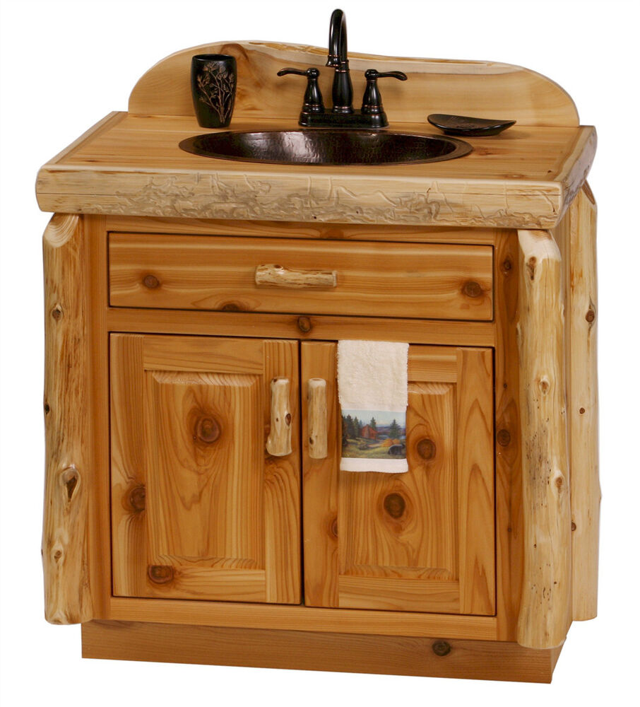 Custom rustic cedar wood log cabin lodge bathroom vanity for Custom bathroom vanity cabinets