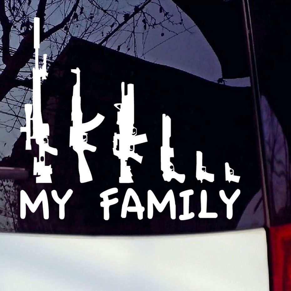 My Gun Family Bumper Sticker Window Funny Laptop Car Truck