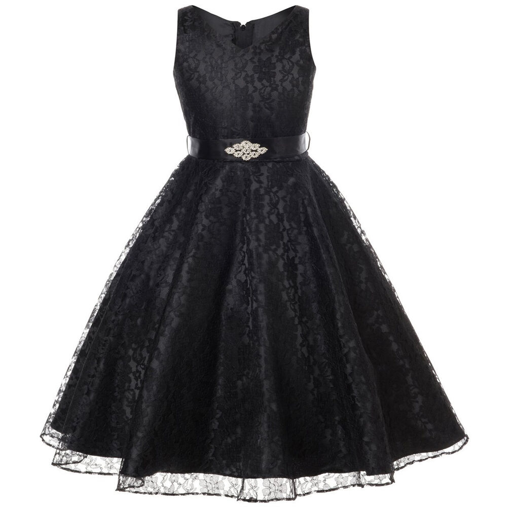 Black Wedding Gowns For Sale: BLACK Lace Flower Girl Dress Dance Wedding Party Birthday