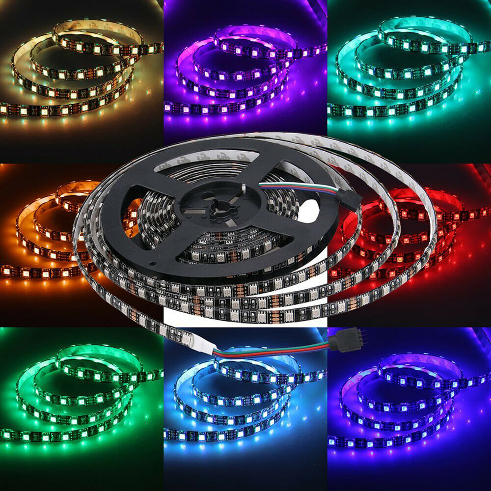 Pcb Black 5m Smd 5050 Rgb White 300 Leds Waterproof Flexible Led Strip Light Ebay