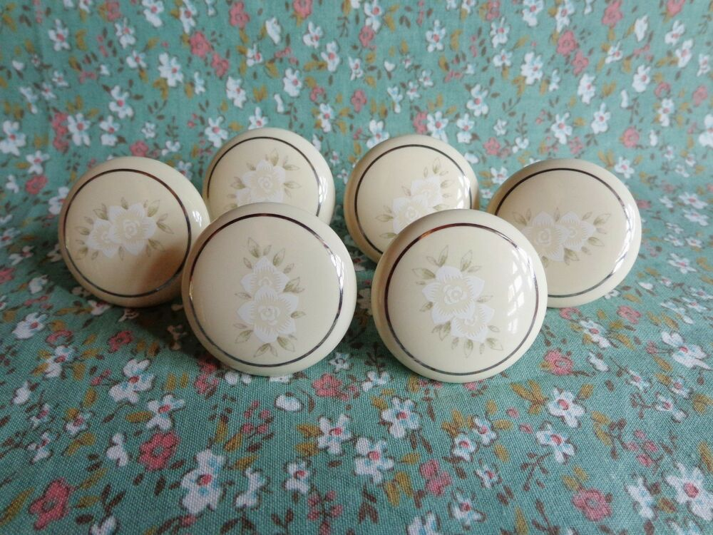 Set Of 6 New Liberty Porcelain Cabinet Knobs Pulls Almond