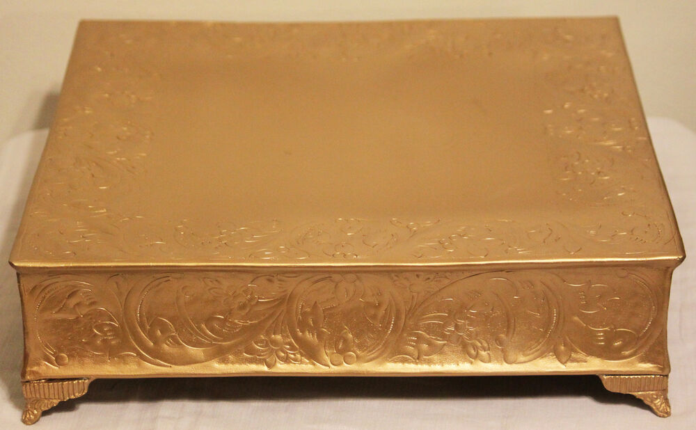 14 inch square wedding cake stand grand wedding matte gold square cake stand plateau 14in ebay 10047