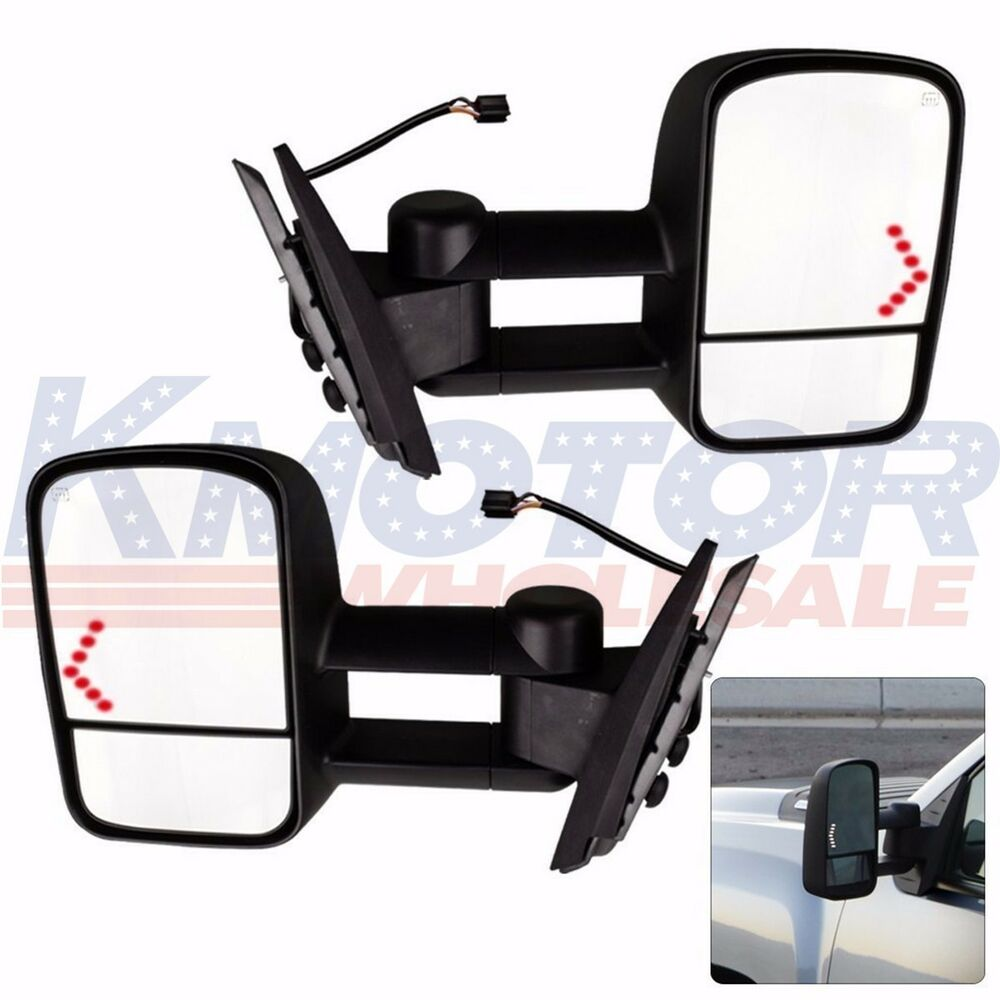 pair power led signal towing mirrors for chevy silverado 2500 1500 2500hd 07 13 ebay. Black Bedroom Furniture Sets. Home Design Ideas
