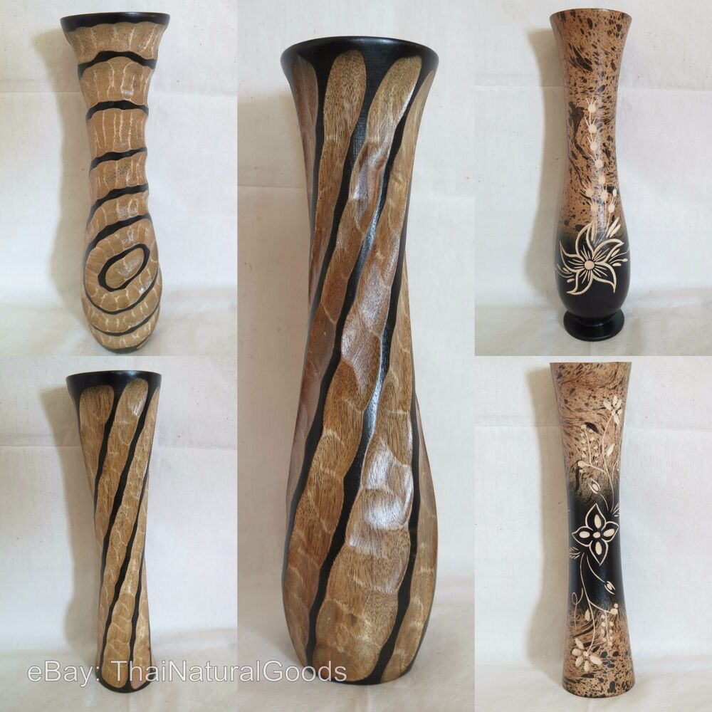 Handmade Mango Wood Table Flower Vase Decorative Wooden Vases 12 inch 30 cm