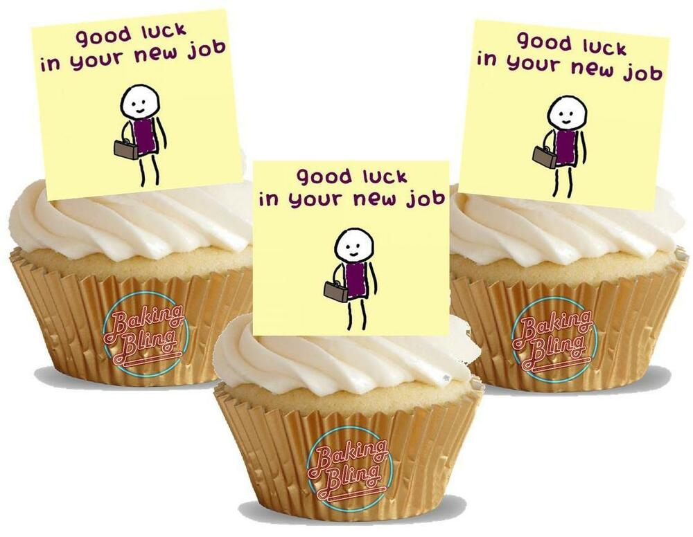 Cake Decorating Job In Uk : NOVELTY GOOD LUCK IN YOUR NEW JOB YELLOW STAND UP Edible ...