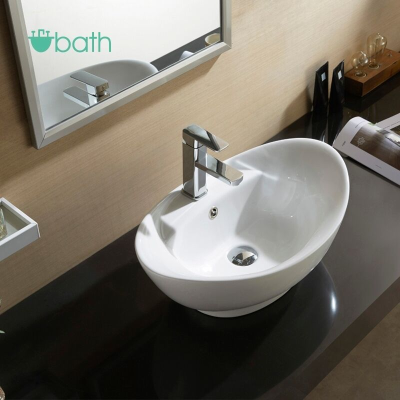 Bathroom Oval Vessel Sink Vanity Basin Pop Up Drain White