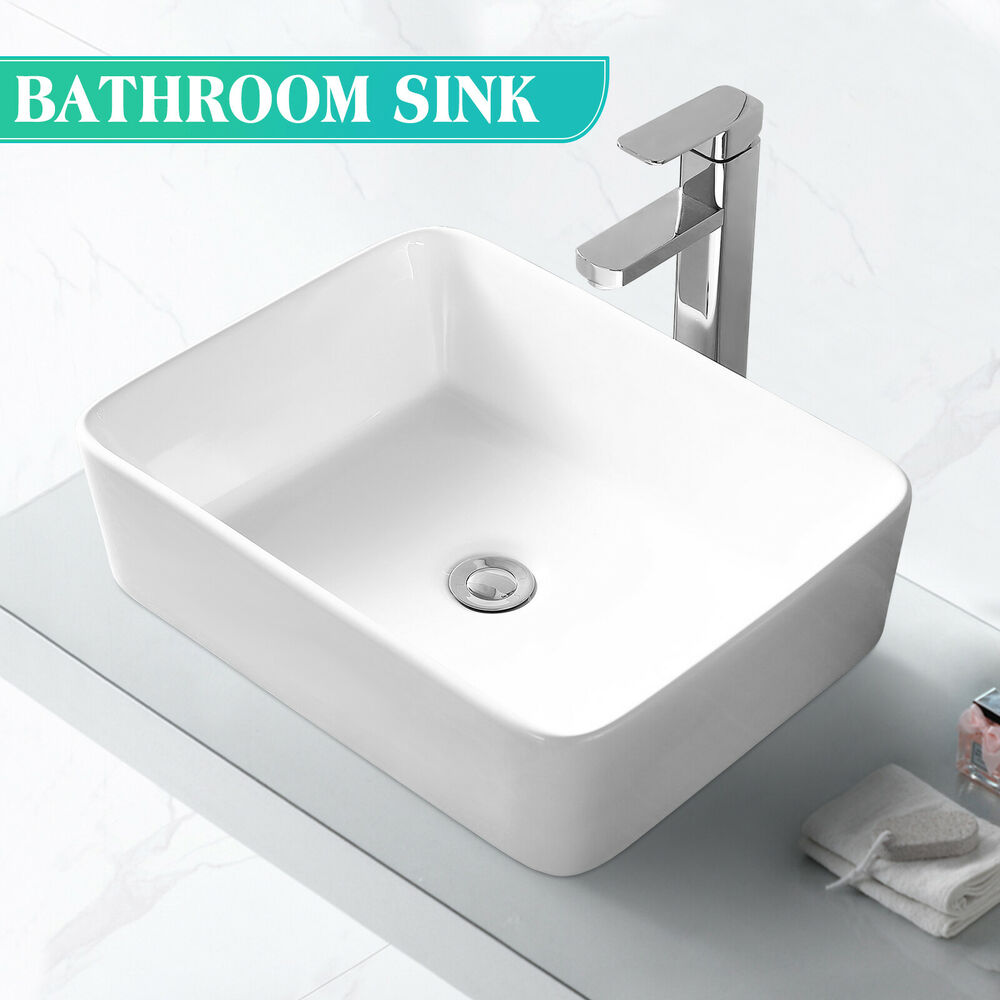 Bathroom Ceramic Vessel Vanity Sink Bowl White Porcelain Basin W Pop Up Drain Ebay