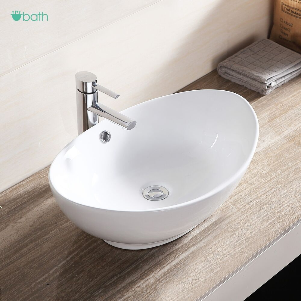 White porcelain ceramic bathroom sink vessel vanity basin bowl w pop up drain ebay for White porcelain bathroom faucets