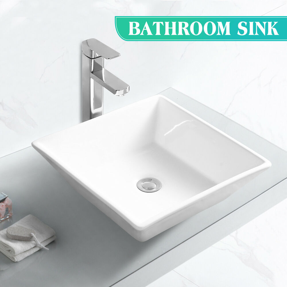 Drain For Bathroom Sink: Square Bathroom Sink Porcelain Ceramic Vessel Vanity Basin