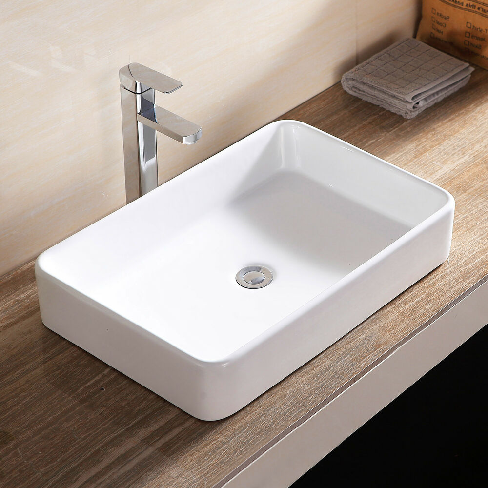 ceramic kitchen sink with drainer rectangle bathroom sink bowl vessel basin w pop up drain 8090