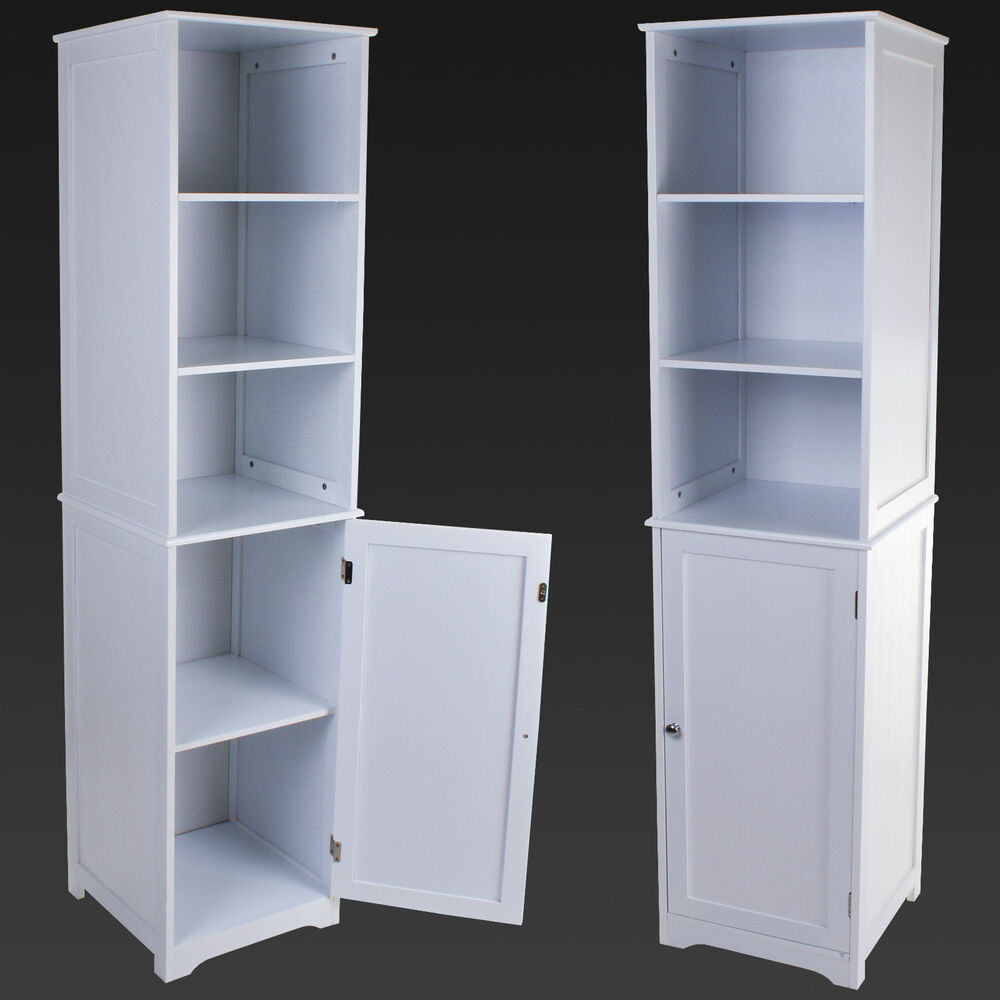 Tall white bathroom storage unit