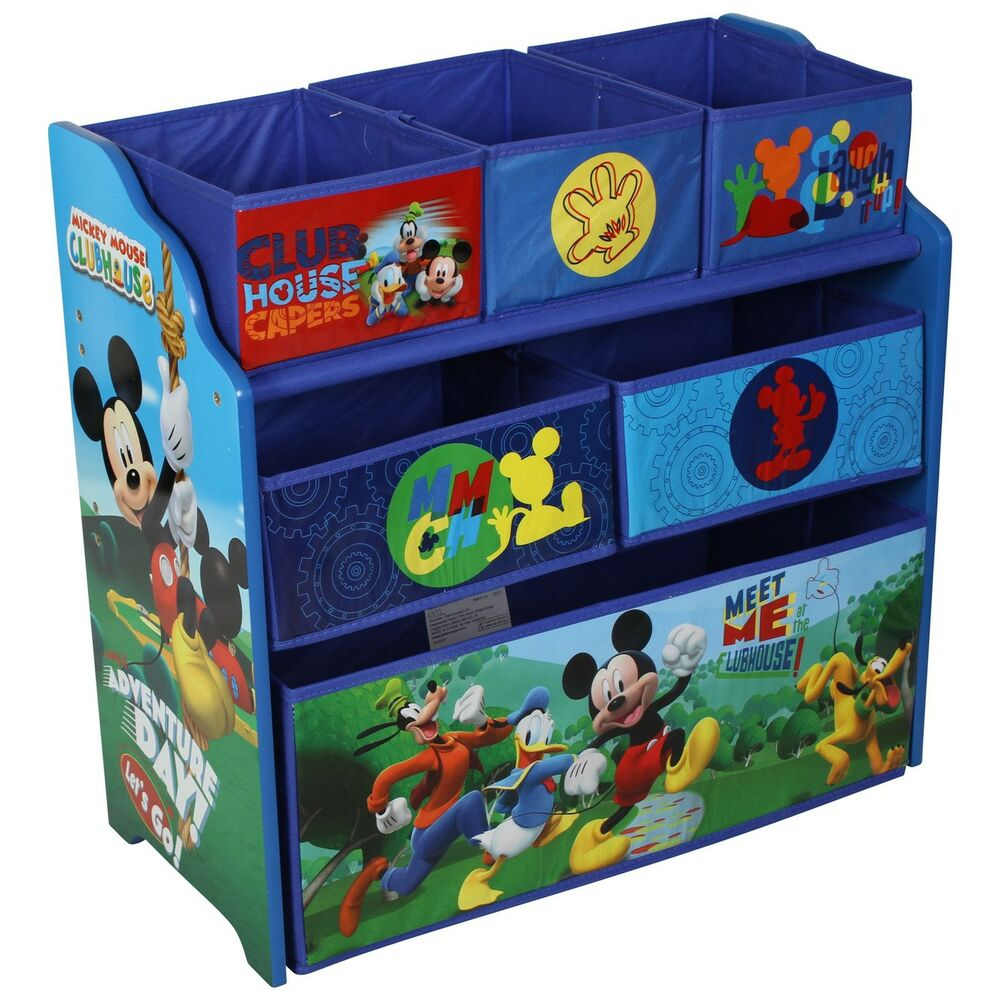 Paw Patrol Toy Organizer Bin Cubby Kids Child Storage Box: Disney Mickey Mouse Wooden Multi-bin Kids Toy Storage