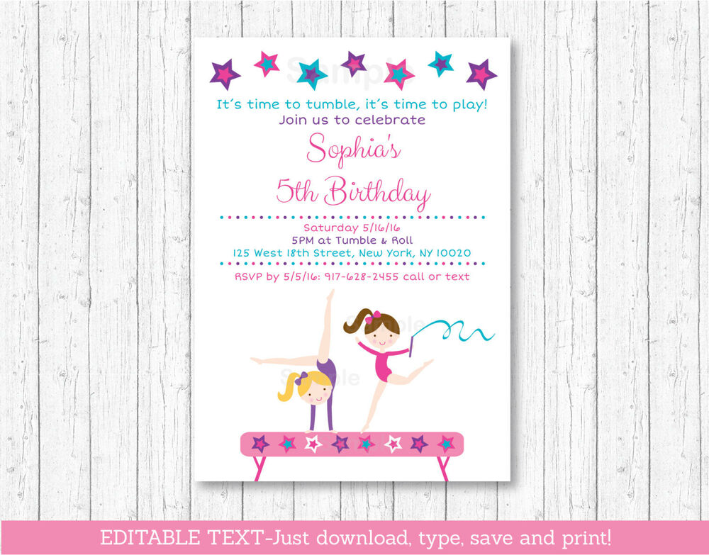 gymnastics birthday invitation printable editable pdf