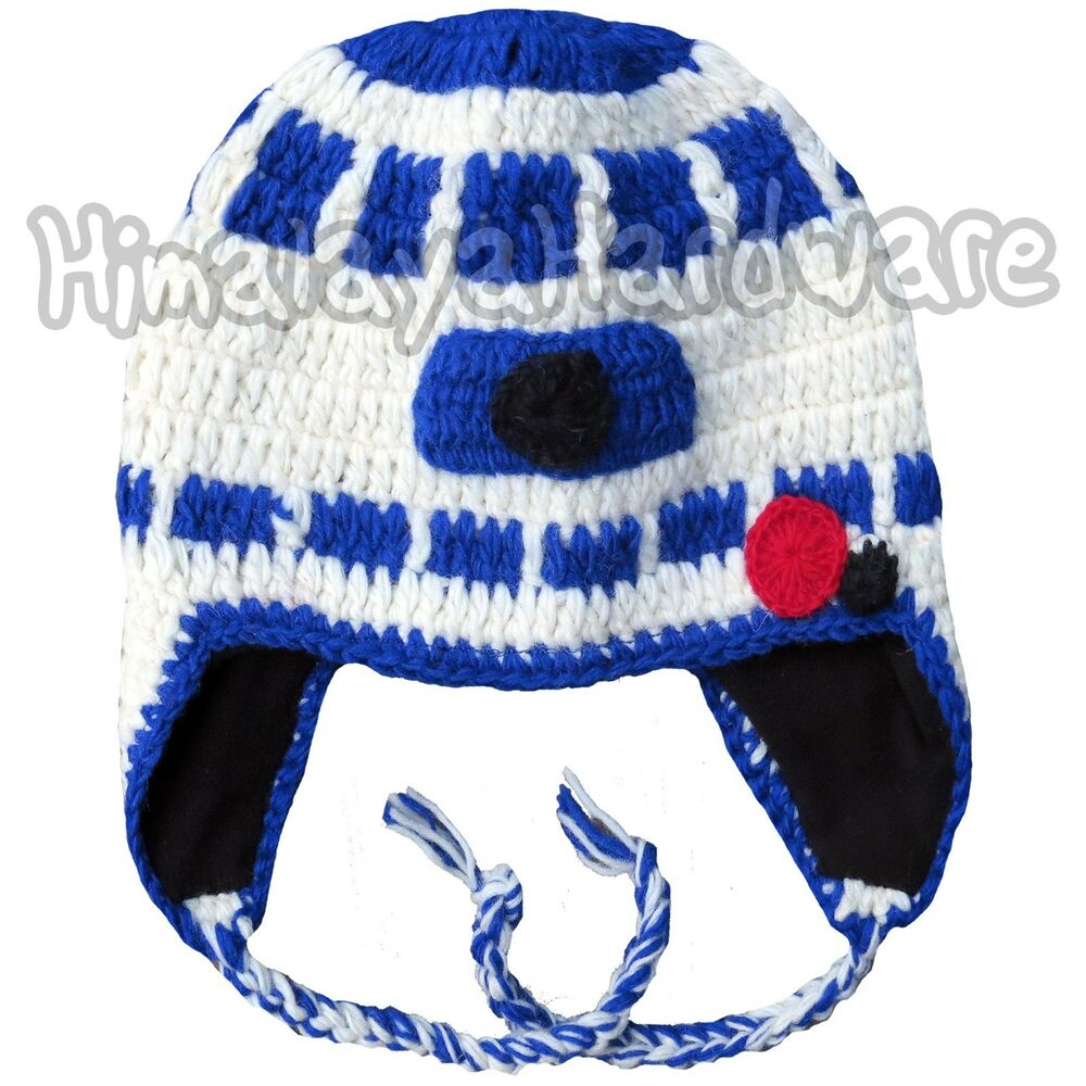 053eb7ece5a Details about Knit Wool R2-D2 Beanie Hat  ear flap winter star sc-fi white  wars droid robot