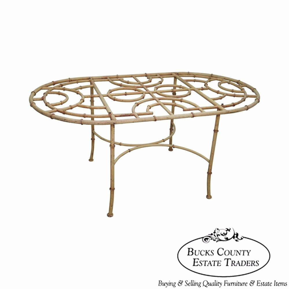 Vintage Faux Bamboo Oval Patio Dining Table Base eBay : s l1000 from www.ebay.com size 1000 x 1000 jpeg 58kB
