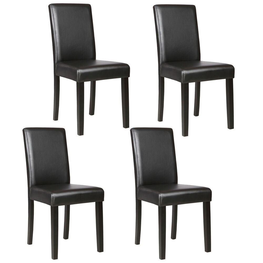 Set of 4 elegant design dining chair kitchen dinette room for Black leather dining room chairs