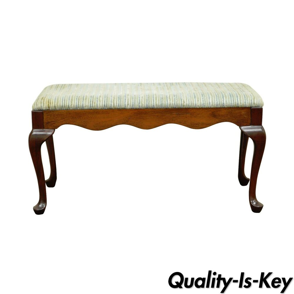 Bedroom bench dimensions - Vintage 36 Statesville Chair Co Solid Cherry Queen Anne Window End Of Bed Bench