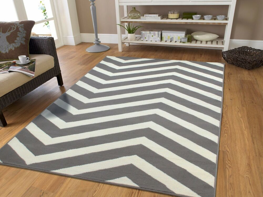 Large 8x10 Courtyard Grey White ZigZag Area Rug Chevron ... - photo#19