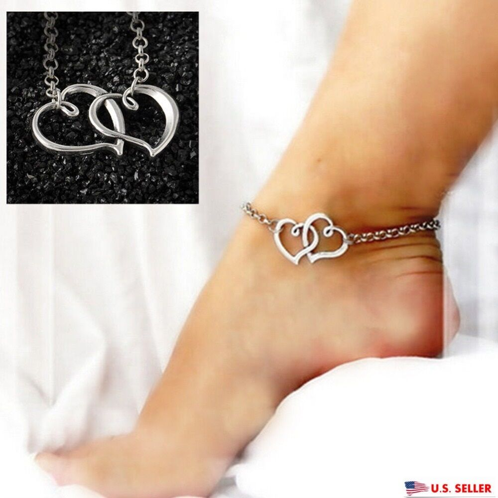 usa shape silver anklet chain ankle