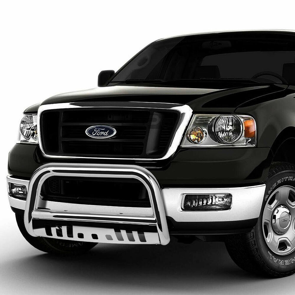 for 04 16 ford f150 non ecoboost 03 expedition chrome bull bar grill skid plate ebay. Black Bedroom Furniture Sets. Home Design Ideas