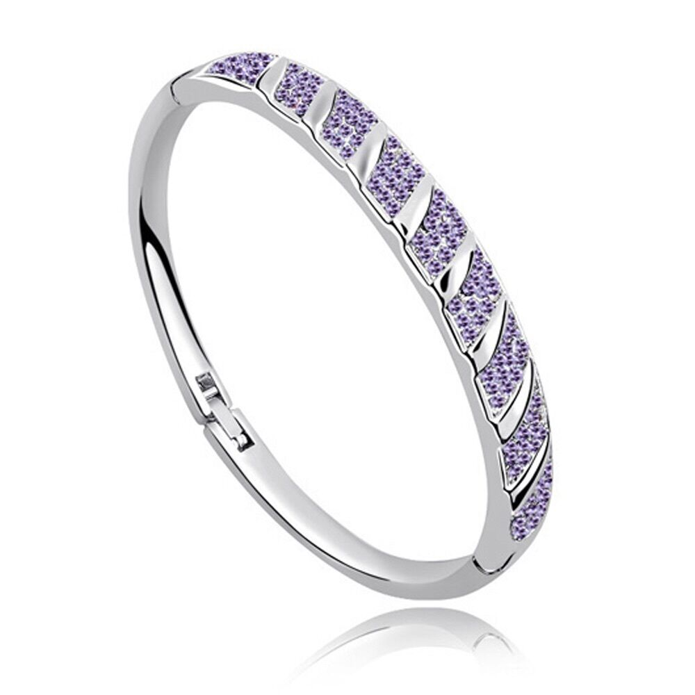 18k white gold plated swarovski crystal elements bracelet bangle purple ebay. Black Bedroom Furniture Sets. Home Design Ideas