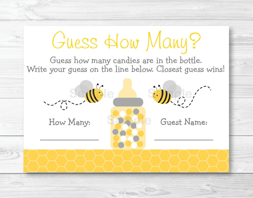 Yellow Amp Grey Bumble Bee Gender Neutral Baby Shower Quot Guess