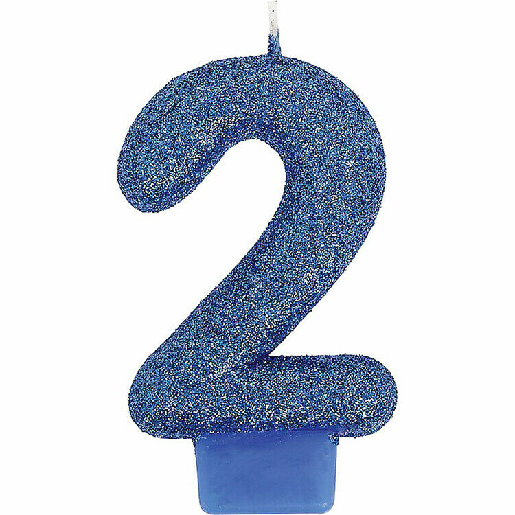 Glitter Blue 2nd Birthday Anniversary Candle Cake Decoration Supplies Number   2