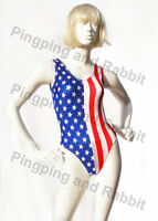 American Flag Satin Shiny One-Piece Swimsuit Bodysuit Leotard Romper Spandex