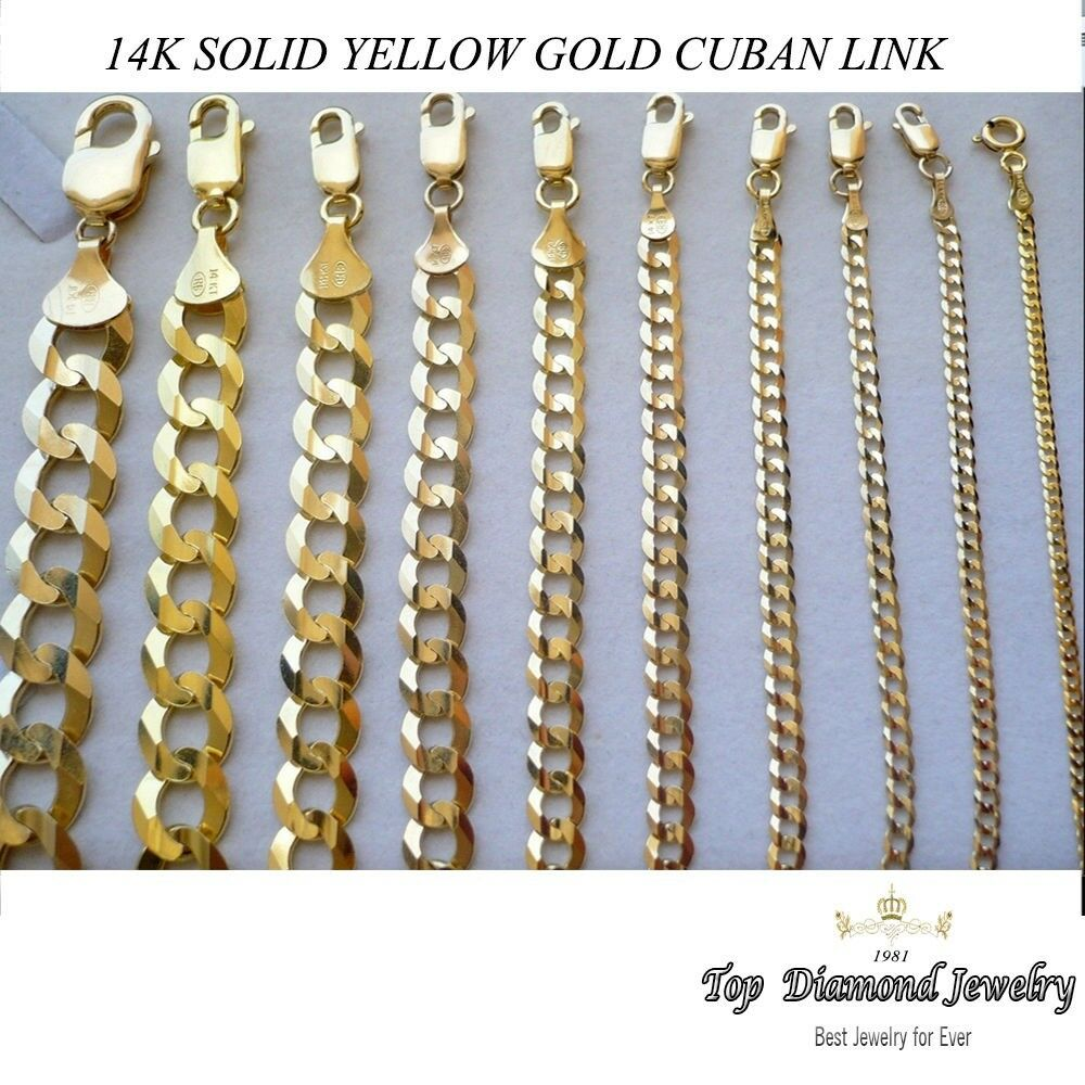 2 2mm 14mm 14k Solid Yellow Gold Cuban Link Women Men S