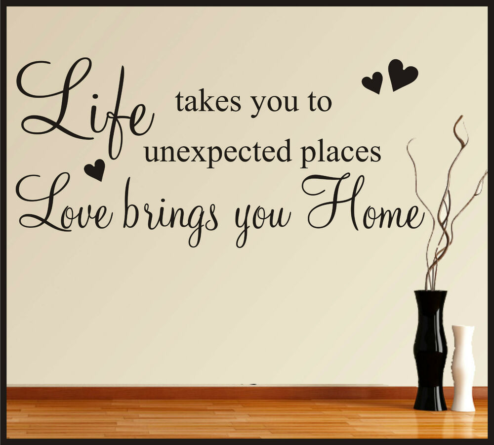 Family life love home wall art stickers quotes words for Home decor quotes on wall