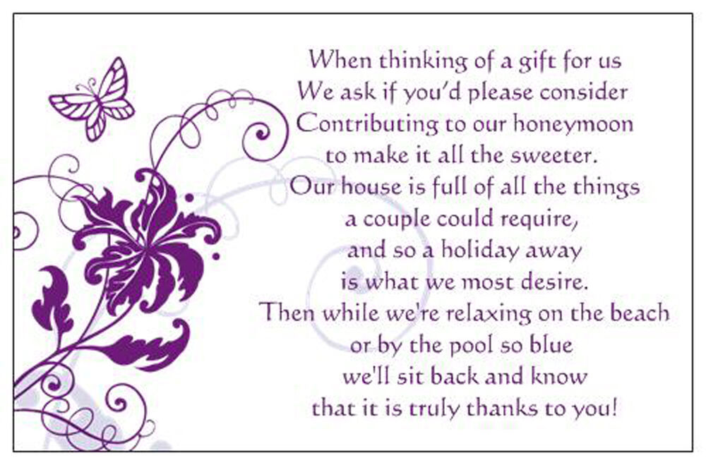 50 Wedding Poem Cards Asking Money For Honeymoon